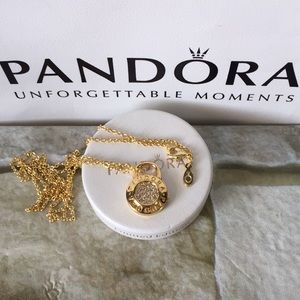 Pandora  shine Padlock pendant  necklace
